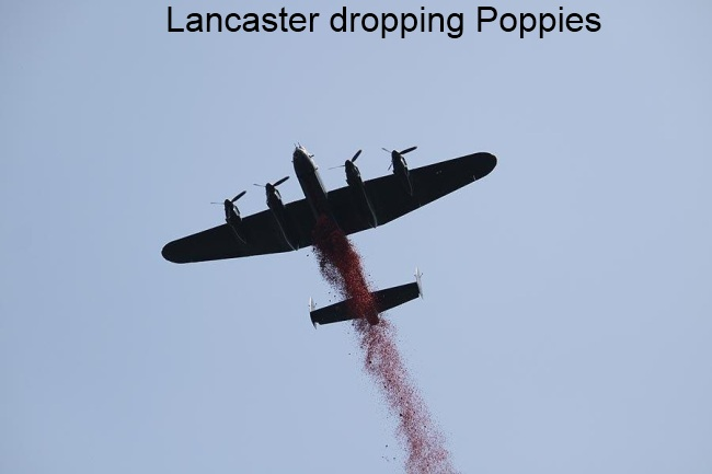 Lancaster dropping poppies