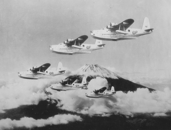Five Flying Boats in formation