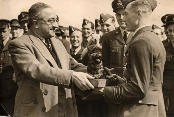 Presentation of the Lion - May 1943 by Mr. Echkman, from MGM presenting a bronze Lion to W/C Burnside